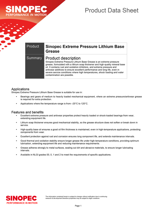 92-Sinopec-Extreme-Pressure-Lithium-Base-Grease