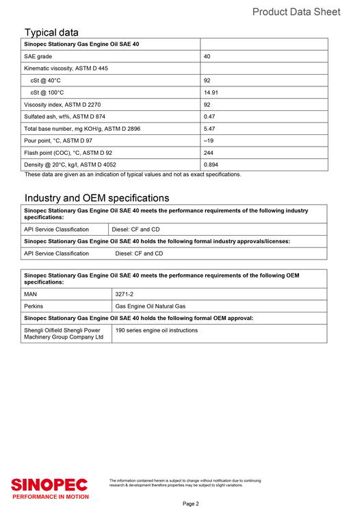 Sinopec Stationary Gas Engine Oil SAE 40